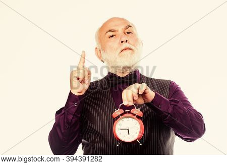 Mature Man With Beard Clock Show Time. Retirement. Watchmaker Or Watch Repairer. Time Management. Bu
