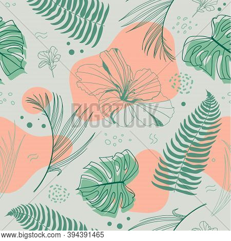 Vector Hand Drawn Seamless Tropical Pattern With Tropical Plants And Palm Leaves, Flowers. Fashion J