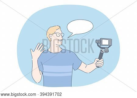 Blogging, Blogging, Sharing Video Content Online Concept. Teen Boy Cartoon Character Standing With S