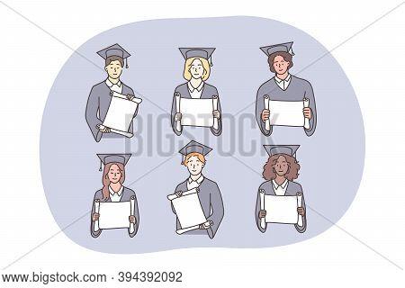 Studentship, Graduation, Diploma Set Concept. Multiethnic African American Chinese Boys Girls Studen