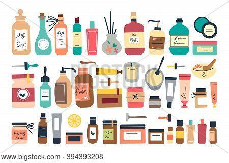 Skincare Doodle Set. Collection Of Colorful Bottles Jars Tubes With Organic Cosmetics Scrub Moisturi