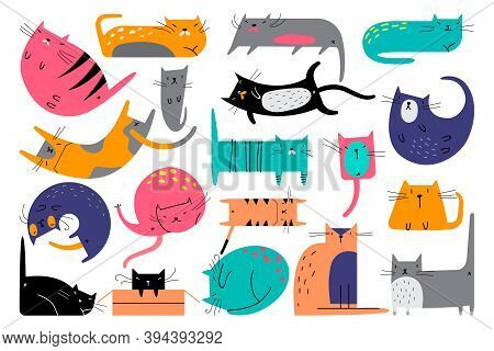 Cats Doodle Set. Collection Of Creative Childish Patterns Domesticated Animals Kitties Kitten Pets I