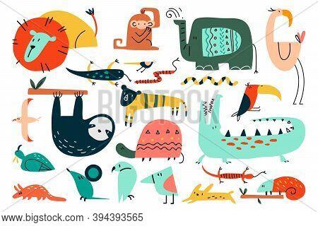 Animals Doodle Set. Funny Colorful Cartoon Characters Cute Wild African Safari Mammals. Illustration