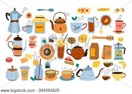 Teatime Doodle Set. Collection Of Colorful Tea Drink Pots Bags Kettle Cookies And Honey Food Isolate