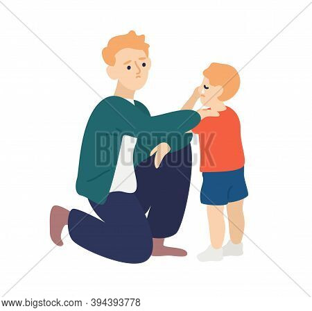 Parent Hug And Soothe Crying Child. Father Empathize And Calming Down His Son. Dad Wiping Tears Away
