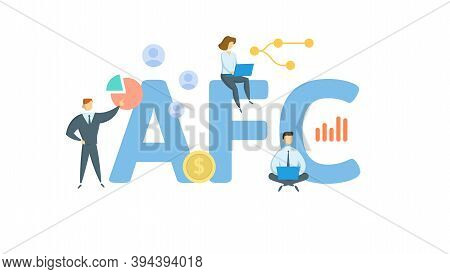 Afc, Average Fixed Costs. Concept With Keywords, People And Icons. Flat Vector Illustration. Isolate