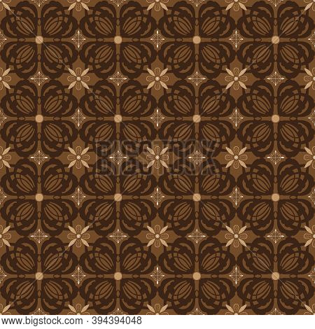 Beautiful Flower Motifs On Typical Solo Batik With Simple Dark Brown Color Design.
