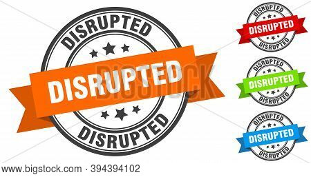 Disrupted Stamp. Round Band Sign Set. Label