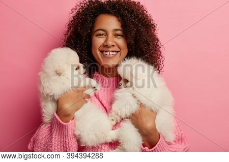 Joyous Dark Skinned Girl Rests With Two Dogs At Home, Carries Two Fluffy Puppies Of Spitz Breed, Enj
