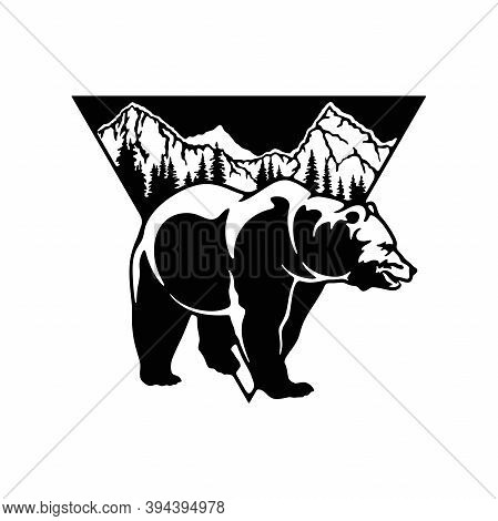 Bear, Grizzly Bear - Forest Landscape, Wildlife Stencils - Forest Silhouettes For Cricut, Wildlife C