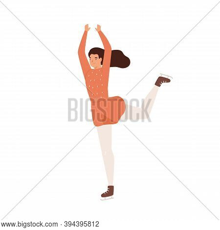 Young Graceful Woman Doing Professional Figure Skating. Ice Skating Performer Doing Elegant Exercise