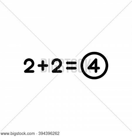 Black Line Icon For Total Number Equal Sum Addition Add Adding Entire Thorough Overall Exhaustive Al