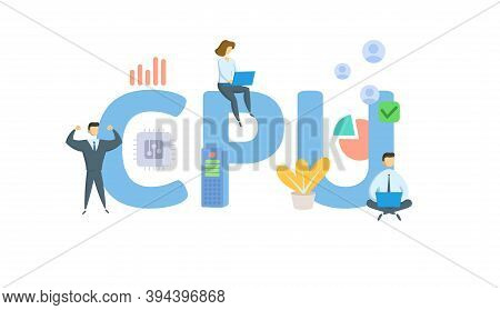 Cpu, Central Processing Unit. Concept With Keywords, People And Icons. Flat Vector Illustration. Iso