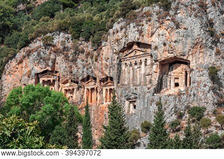 Tombs Of Ancient Lycian Kings In The Rock. Famous Lycian Tombs Of Ancient Caunos City, Dalyan, Turke