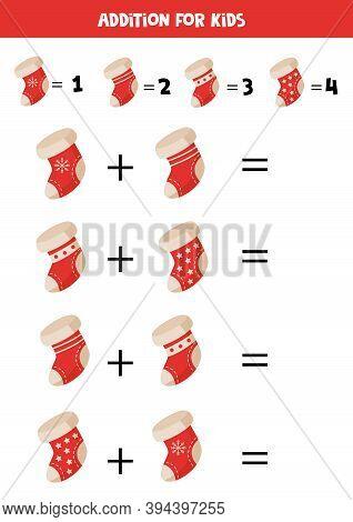 Addition Of Christmas Socks For Kids. Math Game.