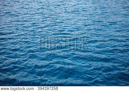 Blue Sea Water Background Texture. Blue Ocean Water With Waves Background. Soft Blue Waves - Water S