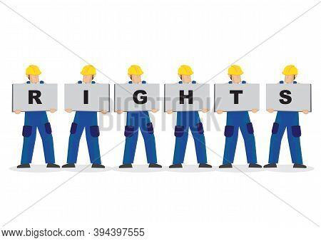 Vector Illustration Of Construction Workers Holding White Board Cards Title Rights. Full Length On