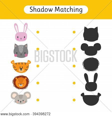 Find The Correct Shadow. Shadow Matching Game For Kids. Worksheet With Animals. Kids Activity For Pr