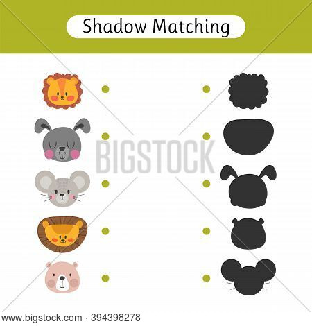 Find The Correct Shadow. Shadow Matching Game For Kids. Worksheet With Cute Animals. Kids Activity F