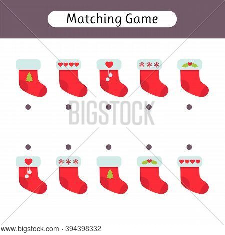 Matching Game For Kids. Worksheet With Christmas Socks. Find The Correct Pair. Kids Activity For Pre