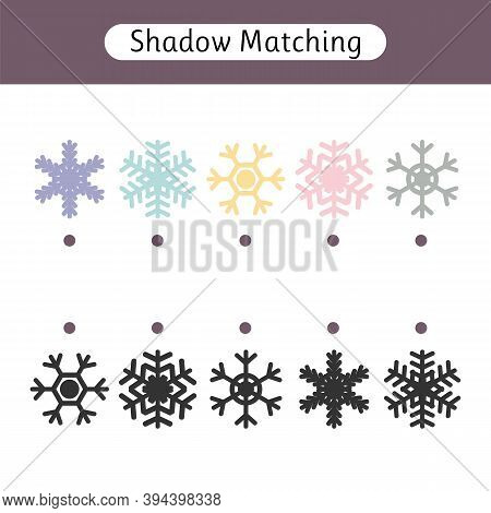 Matching Game For Kids. Worksheet With Snowflakes. Find The Correct Pair. Kids Activity For Preschoo