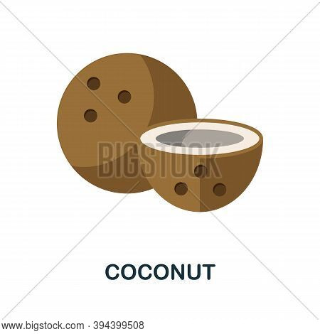 Coconut Icon. Simple Element From Fruits Collection. Creative Coconut Icon For Web Design, Templates