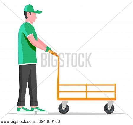 Courier With Empty Barrow Isolated On White. Metallic Wheeled Trolley And Delivery Man. Hand Truck D