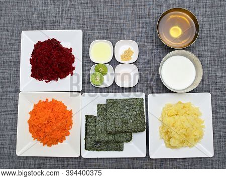 Top View, Ingredients For A Traditional Russian Salad With Seaweed Called