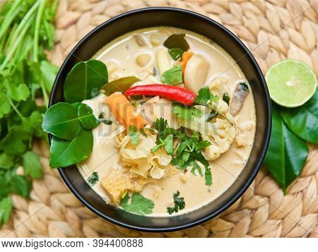 Traditional Thai Soup Tom Kha And Tom Yam With Spices In Coconut Milk, Asian Vegetarian And Vegan Fo