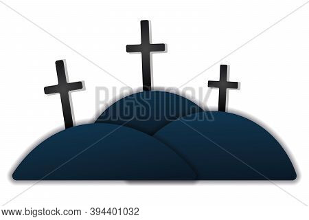 Crosses. Memorial To Memory. Silhouettes. Vector Illustration. Isolated White Background. Cutout Sty