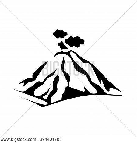 International Mountain Day. Black Mountain Silhouette On White. Everest Mountain Landscape Nature Ou
