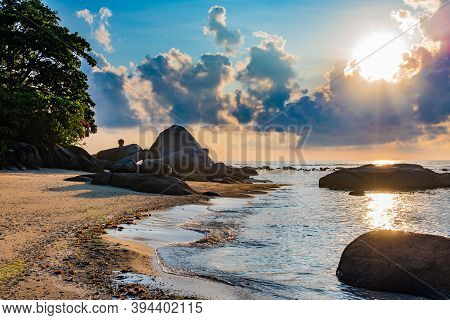 Beach On Koh Samui In Thailand, Paradise, Sunny Beach, Huge Stones, Sunbathing And Swimming In The S
