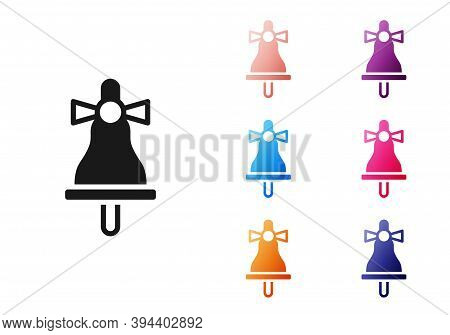Black Merry Christmas Ringing Bell Icon Isolated On White Background. Alarm Symbol, Service Bell, Ha