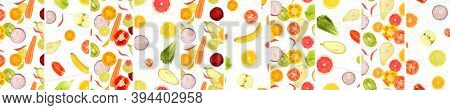 Panoramic skinali from vegetables and fruits separated by vertical lines isolated on white background.