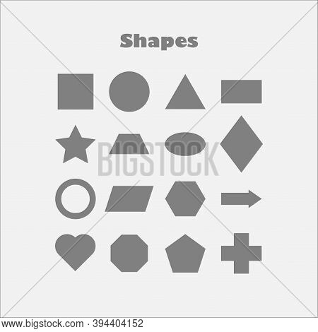 Different Geometric Shapes For Children, Fun Education Game For Kids, Preschool Activity, Set Of Bas