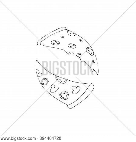 Slice Of Pizza With Mushrooms And Pepper. And Pepperoni Pizza, Drawn By Hand. Doodle Style. Isolated