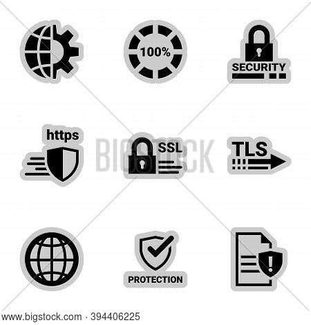 Icons For Theme Protection, Internet Security, Caution , Vector, Set. White Background