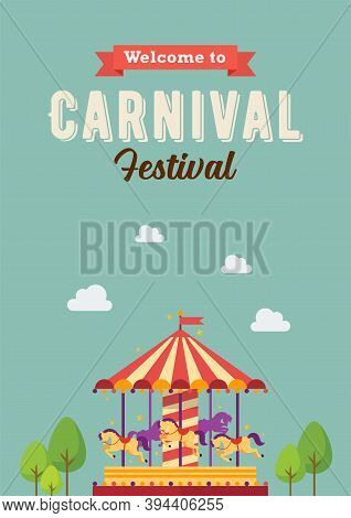 Carnival Festival Colorful Carousel. Merry-go-round. Funfair Carnival Poster. Vector Illustration