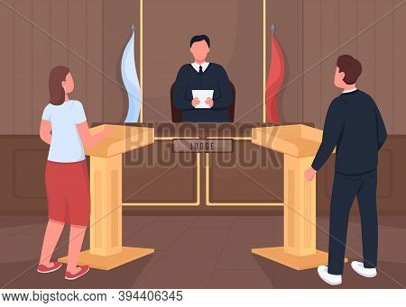 Courthouse Lawsuit Procedure Flat Color Vector Illustration. Attorney And Prosecutor. Witness Hearin