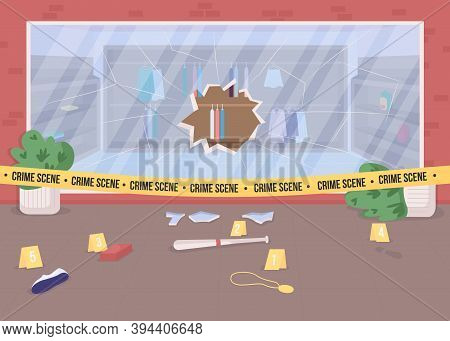 Shop Burglary Crime Scene Flat Color Vector Illustration. Broken Store Window. Crime Evidence. Polic
