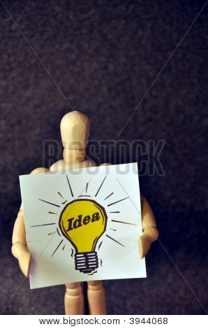 Wooden Man With An Idea