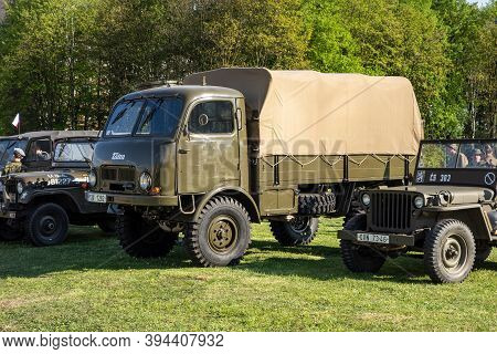 Ostrava, Czech Republic - 2019: Exhibition Of Old Army Vehicles Focused On Tatra 805 Truck And Legen