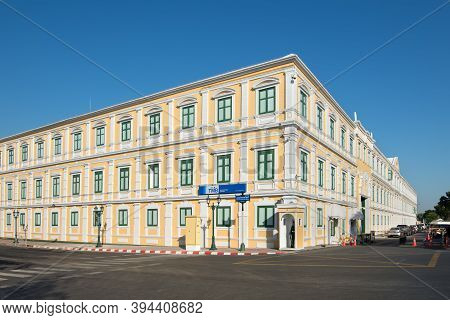 Bangkok, Thailand - December 7, 2019: Street View Of The Ministry Of Defence Yellow Building Of Thai