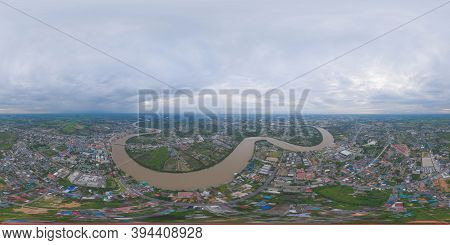 360 Panorama By 180 Degrees Angle Seamless Panorama Of Aerial View Of Buildings With Curve Of Chao P