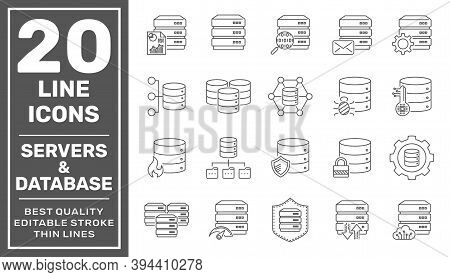 Network And Hosting Related Line Icon Set. Server And Database Vector Linear Icon Collection. Editab