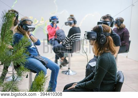 A Room With People Immersed In Virtual Reality. Oculus Rift Gear Vr Helmets - Moscow, Russia, 12 13