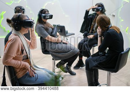 Women In A Virtual Reality Helmet Oculus Rift Gear Vr - Moscow, Russia, 12 13 2019