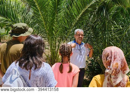 The Guide Leads A Tour About Roman And Punic Wars. Excursion To The Terms Anthony Park Carthage. Tun