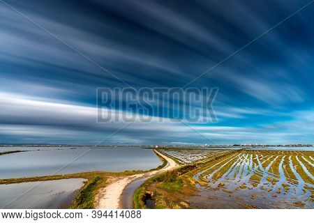 Long Exposure Of Flooded Rice Fields In Albufera