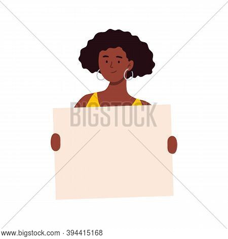 An African-american Woman Holding A Blank Poster. Cartoon Character Showing A Blank Banner. Vector F